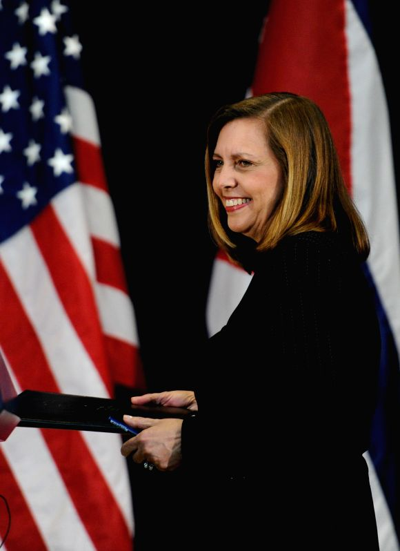 Josefina Vidal, head of the Cuban foreign ministry's U.S. division, arrives for a press conference after the second round of talks between Washington and ...