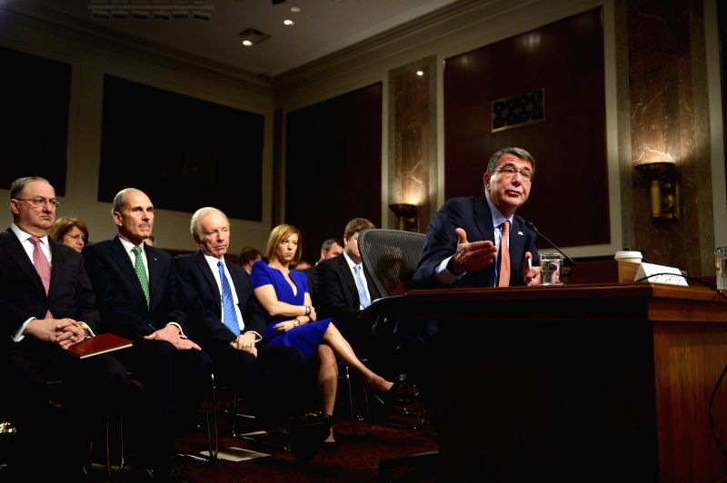 Ashton Carter, U.S. President Barack Obama's nominee to be next Secretary of Defense, testifies in a nominations hearing before the Senate Armed Services ...