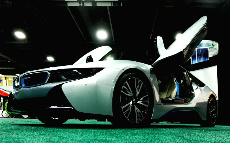 BMW i8, the Green Luxury car of the year awarded by Green Car Journal, is presented during the second press day of 2015 Washington Auto Show in Washington ..