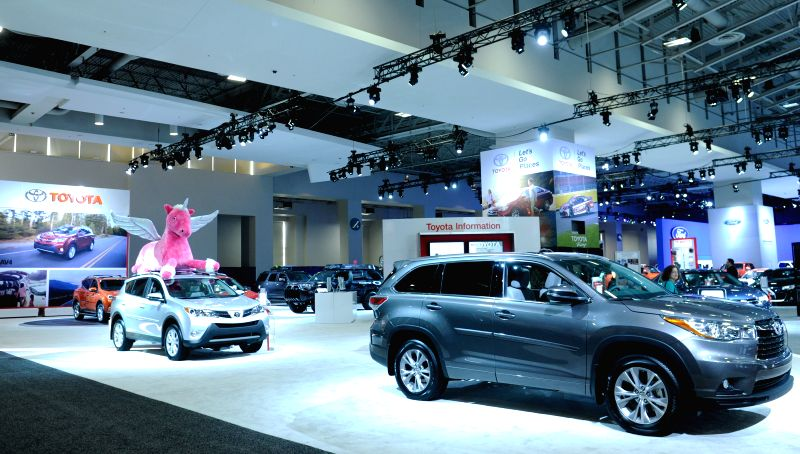 The exhibition hall of Toyota is seen during the second press day of 2015 Washington Auto Show in Washington D.C., capital of the United States, Jan. 22, ...