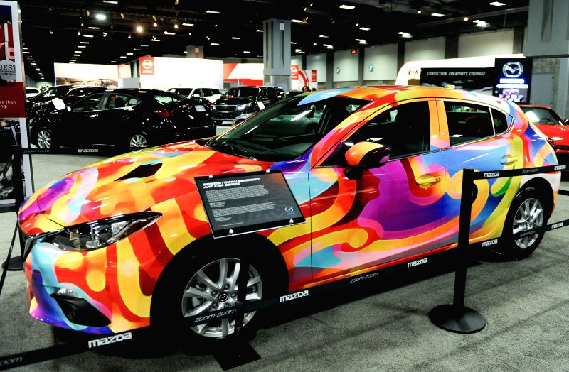 The Georgetown University Art car of Mazda is presented during the second press day of 2015 Washington Auto Show in Washington D.C., capital of the United ..