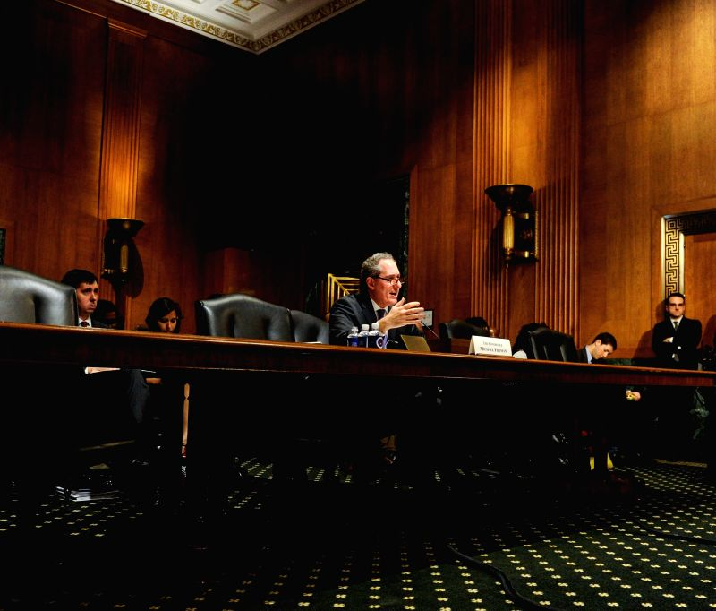 U.S. Trade Representative Michael Froman testifies before the Senate Finance Committee during a hearing on the 2015 U.S. trade policy agenda at Capitol Hill