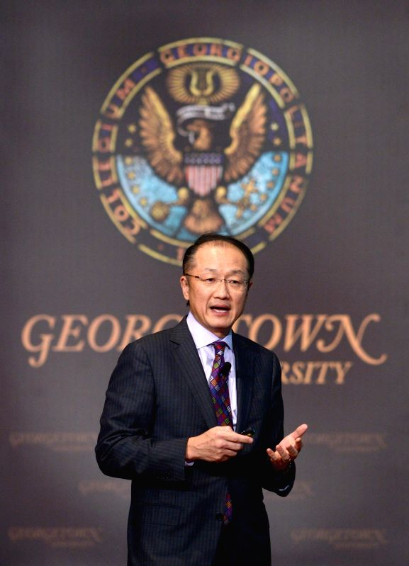 World Bank President Jim Yong Kim speaks at Georgetown University in Washington D.C., capital of the United States, Jan. 27, 2015.
