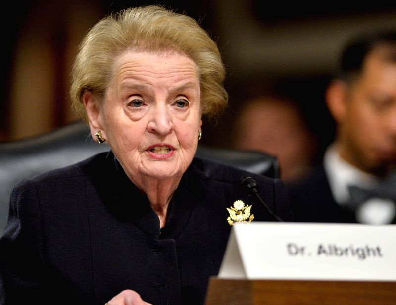 Former U.S. Secretary of State Madeleine Albright testifies before the Senate Armed Services Committee during a hearing on Global Challenges and the U.S. ...