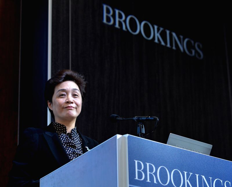 Tao Kaiyuan, vice president of China's Supreme People's Court (SPC), gives a speech at the Brookings Institution in Washington D.C., the United States, Jan.