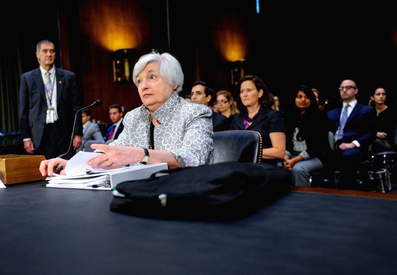 U.S. Federal Reserve Chair Janet Yellen (front) testifies before the Senate Banking Committee of U.S. Congress during a hearing on Capitol Hill in ...