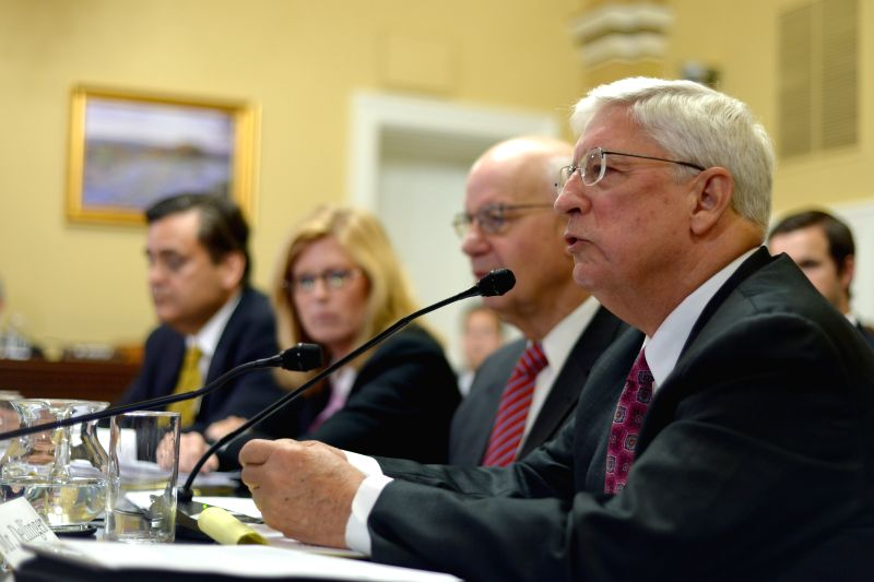 Walter Dellinger, Partner at O'Melveny & Meyers, testifies at a House Rules Committee hearing on Capitol Hill in Washington D.C., the United States, ...