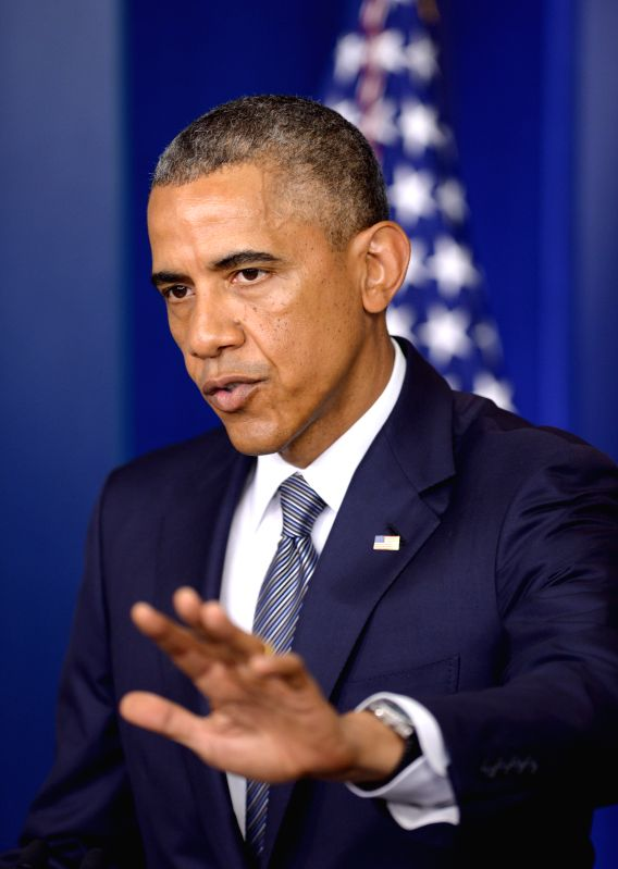 U.S. President Barack Obama speaks on the situation in Ukraine at the briefing room of the White House in Washington D.C., the United  States, on July 18, ..