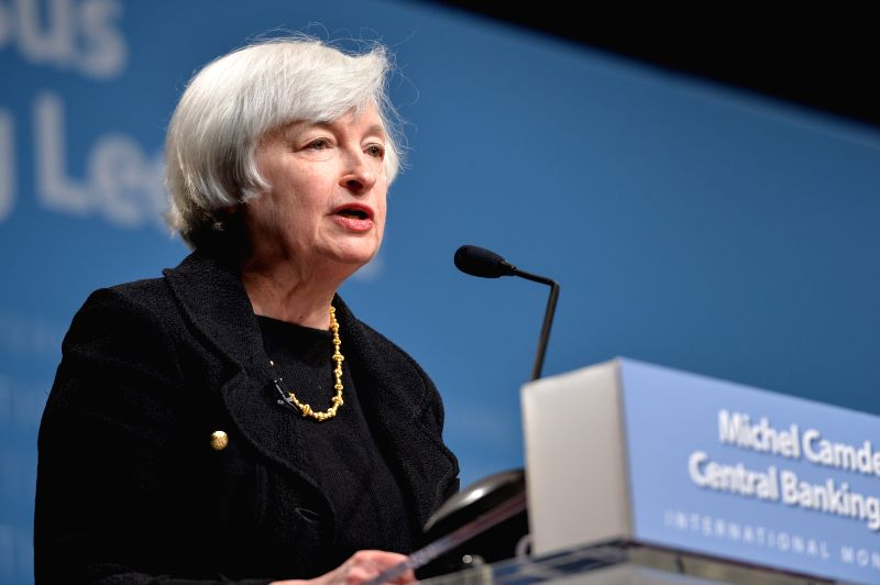 U.S. Federal Reserve Chair Janet Yellen speaks at the headquarters of the IMF in Washington D.C., capital of the United States, July 2, 2014. U.S. Federal ...