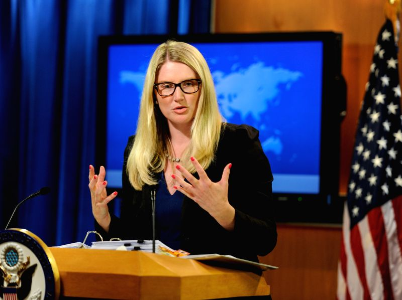 U.S. State Department spokeswoman Marie Harf speaks during daily press briefing in Washington D.C., capital of the United States, July 21, 2014. U.S. ...