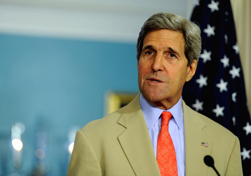 U.S. Secretary of State John Kerry speaks during a joint news conference with Ukrainian Foreign Minister Pavlo Klimkin at the State Department in Washington