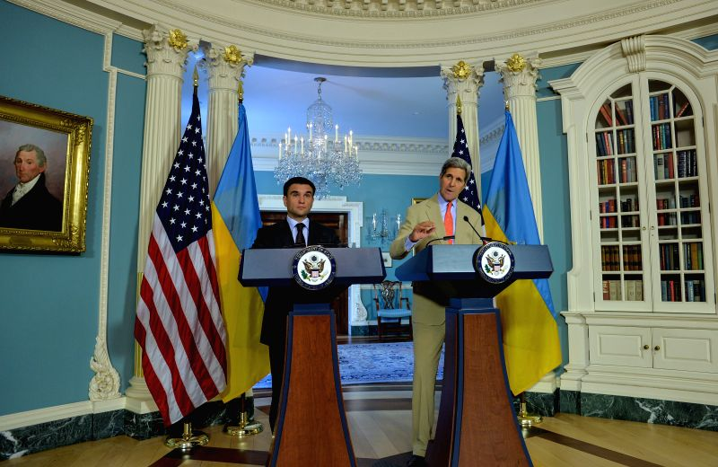 U.S. Secretary of State John Kerry (R) and Ukrainian Foreign Minister Pavlo Klimkin attend a joint news conference at the State Department in Washington ...