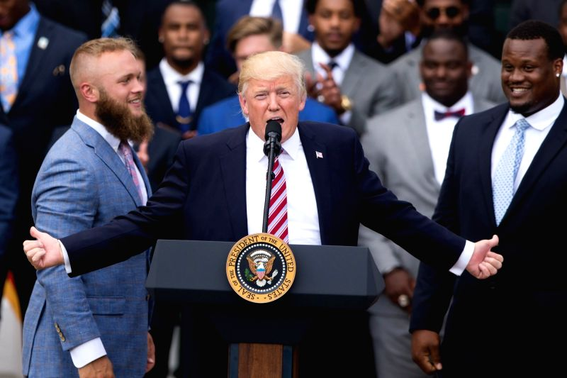 WASHINGTON D.C., June 13, 2017 - U.S. President Donald Trump speaks during a ceremony honoring the 2016 NCAA Football National Champions Clemson University Tigers at the White House in Washington ...