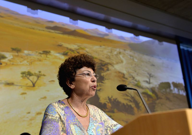 Ms. Monique Barbut, Executive Secretary of United Nations Convention to Combat Desertification (UNCCD), speaks at the headquarters of World Bank in ...