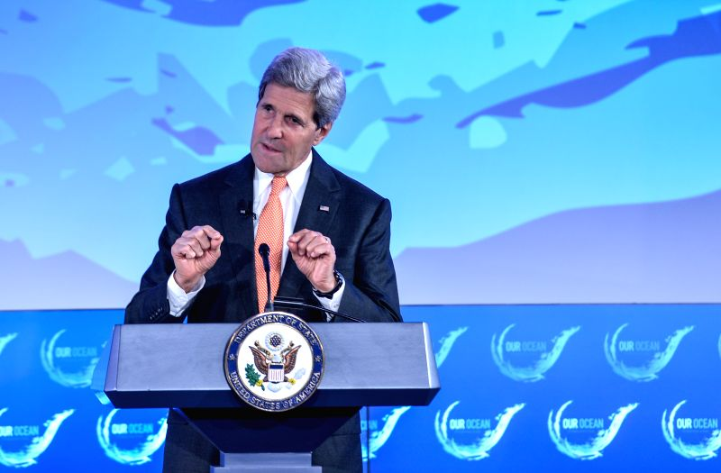 "U.S. Secretary of State John Kerry speaks during ""our ocean"" conference at the U.S. Department of State in Washington D.C., capital of the United ."