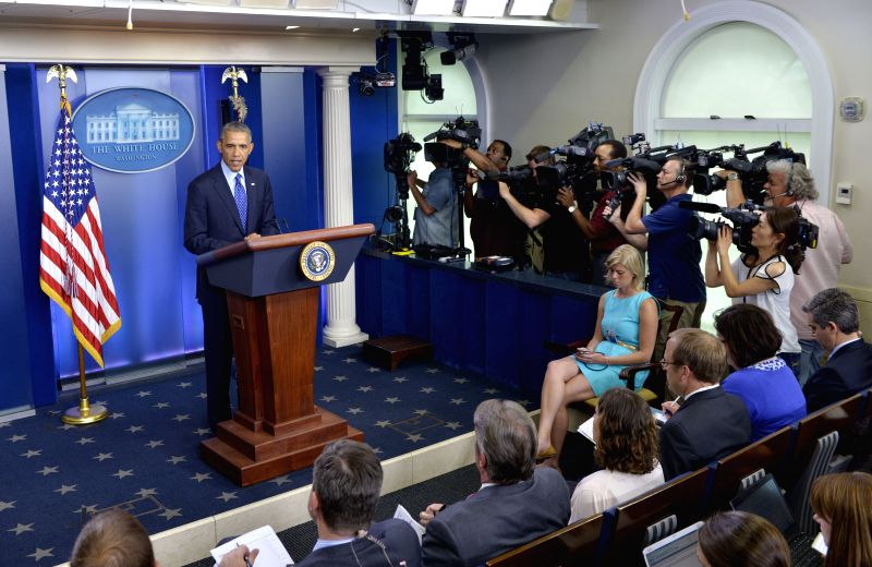 U.S. President Barack Obama speaks about situation in Iraq at the briefing room of the White House in Washington D.C., the United States, on June 19, 2014. .