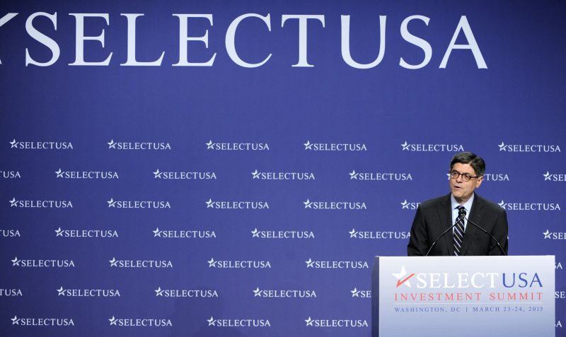 U.S. Treasury Secretary Jacob J. Lew speaks during the 2015 SelectUSA Investment Summit in Washington metropolitan area, the United States, March 24, 2015. ...
