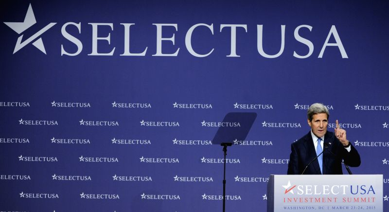 U.S. Secretary of State John Kerry speaks at the 2015 SelectUSA Investment Summit in Washington metropolitan area, the United States, March 24, 2015. Kerry ...