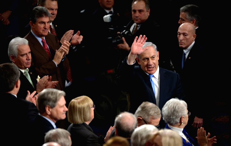 Israeli Prime Minister Benjamin Netanyahu (C) arrives for addressing a joint meeting of Congress on Capitol Hill in Washington D.C., the United States, ... - Benjamin Netanyahu