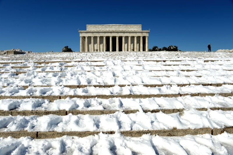 The Lincoln Memorial is seen after snowfall in Washington D.C., the United States, on March. 6, 2015.