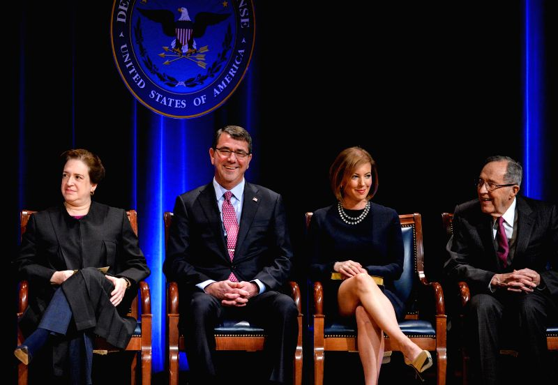 U.S. Defense Secretary Ashton Carter (2nd L) attends the Ceremonial Swearing-in in the Pentagon Auditorium in Washington D.C., capital of the United States, ...