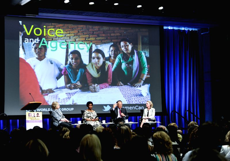 "World Bank Group President Jim Yong Kim (2nd R) speaks at the launch ceremony of World Bank Group's new report ""Voice and Agency: Empowering Women and .."