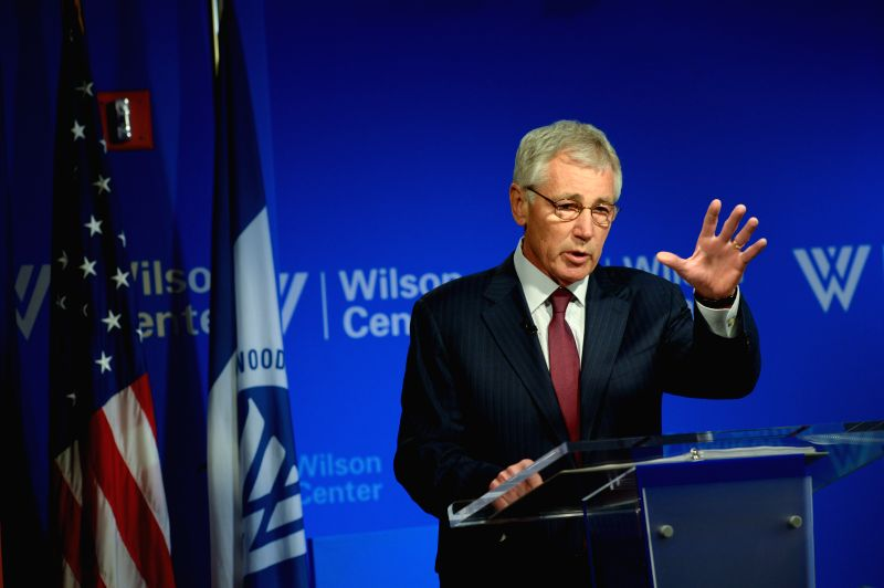 U.S. Secretary of Defense Chuck Hagel speaks at the Wilson Center in Washington D.C., the United States, May 2, 2014. Hagel on Friday renewed calls for ...