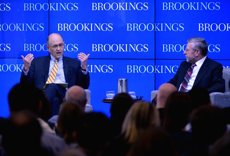 WASHINGTON D.C., May 25, 2016 - Nathan Sheets (L), U.S. Treasury's undersecretary for international affairs, speaks at a Brookings event to preview the eighth China-U.S. Strategic and Economic ...
