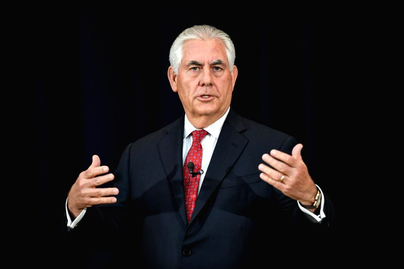 WASHINGTON D.C., May 4, 2017 - U.S. State Secretary Rex Tillerson delivers a speech to State Department employees in Washington D.C., capital of the United States, May 3, 2017. U.S. Secretary of ...