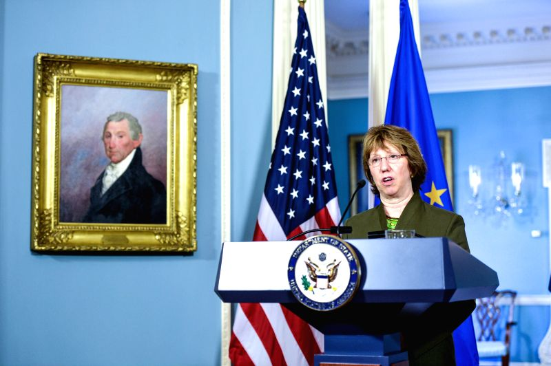 EU foreign policy chief Catherine Ashton speaks during a joint news conference with U.S. Secretary of State John Kerry at the State Department in Washington ..