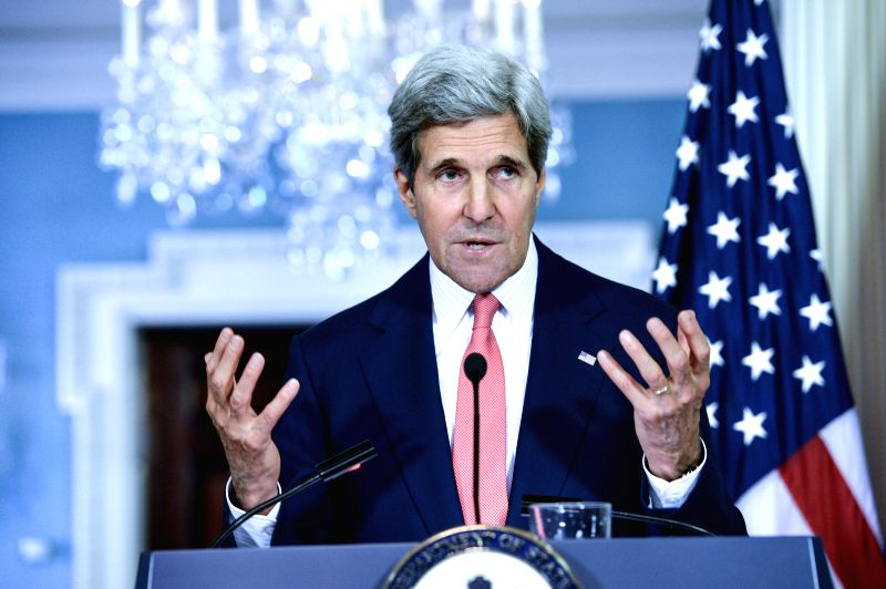 U.S. Secretary of State John Kerry speaks during a joint news conference with EU foreign policy chief Catherine Ashton at the State Department in Washington ..
