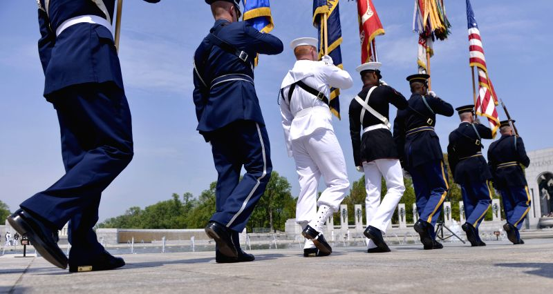 Photo: An honor guard is seen during a ceremony marking the 69th anniversary of the Allied Forces Victory in World War II, in Washington D.C., the United ...