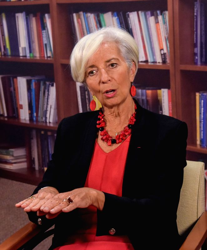 Christine Lagarde, managing director of the IMF, speaks during an interview with media in the headquarters of the International Monetary Fund (IMF) in ...