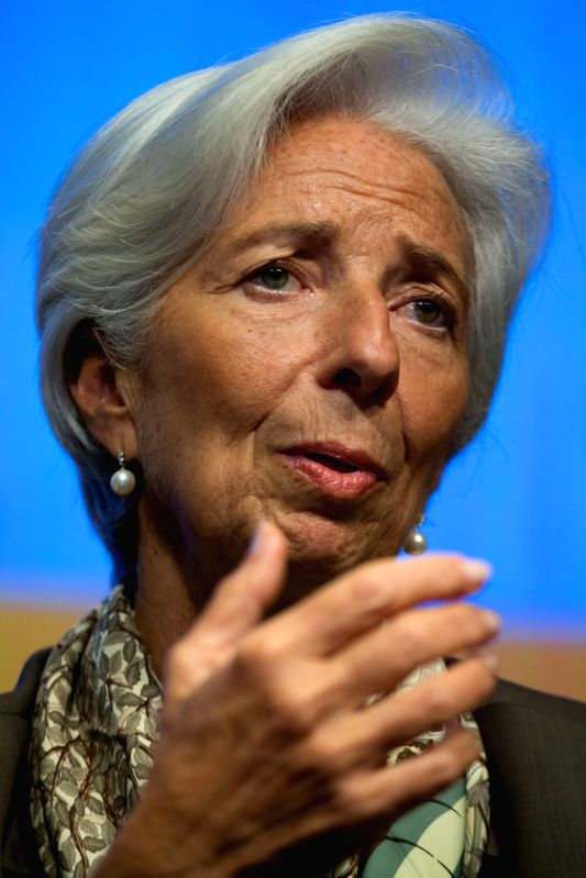 WASHINGTON D.C., Oct. 12, 2017 - Christine Lagarde, managing director of the International Monetary Fund (IMF), speaks at a Civil Society Townhall meeting at the World Bank Headquarters in Washington ...