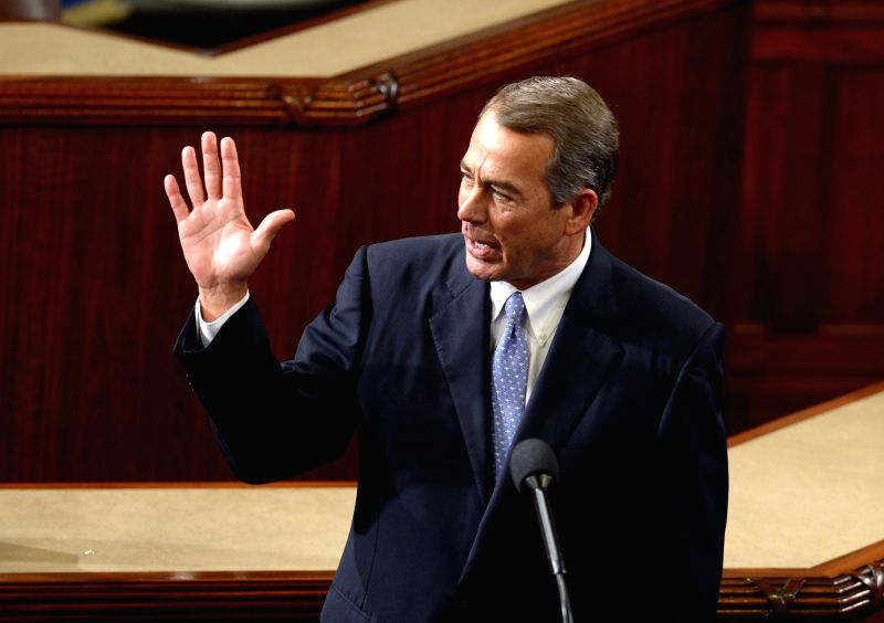 WASHINGTON D.C., Oct, 29, 2015 Outgoing speaker John Boehner gives a farewell speech in the House Chamber on Capitol Hill, in Washington D.C., the United States, Oct. 29, 2015. John ...