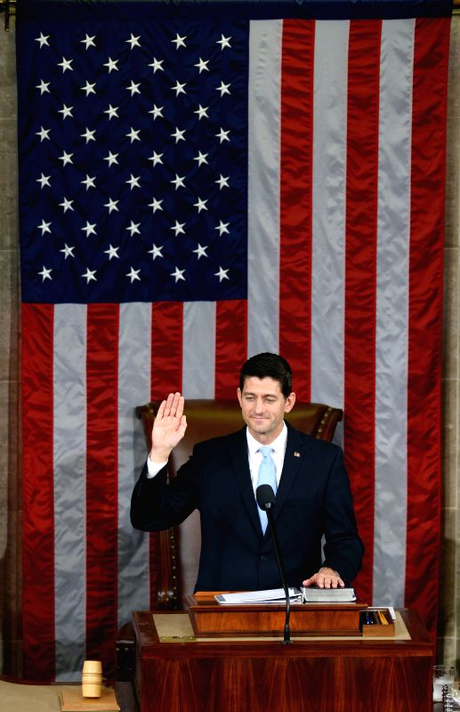 WASHINGTON D.C., Oct, 29, 2015 Paul Ryan takes the oath as the new Speaker of the U.S. House of Representatives, in the House Chamber on Capitol Hill in Washington D.C., the United ...