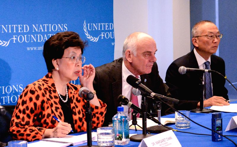 Margaret Chan(1st L), General-Director of World Health Organization, speaks during a press conference in Washington D.C., capital of the United States, ...