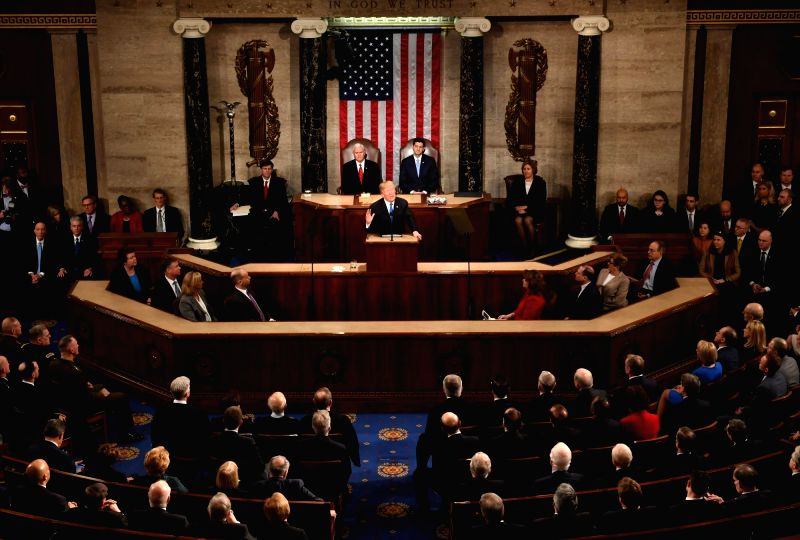WASHINGTON, Jan. 31, 2018 - U.S. President Donald Trump delivers his State of the Union address to a joint session of Congress on Capitol Hill in Washington D.C., the United States, Jan. 30, 2018.