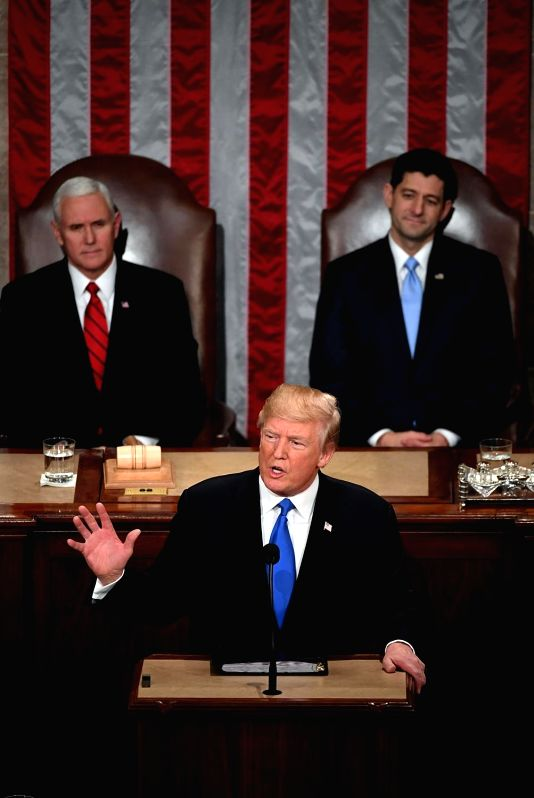 WASHINGTON, Jan. 31, 2018 - U.S. President Donald Trump(front) delivers his State of the Union address to a joint session of Congress on Capitol Hill in Washington D.C., the United States, Jan. 30, ...