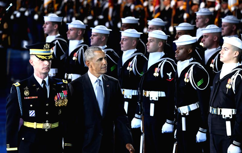 WASHINGTON, Jan. 4, 2017 - U.S. President Barack Obama attends an Armed Forces Full Honor Farewell Ceremony for the president at Joint Base Myer-Henderson in Washington D.C., the United States on ...