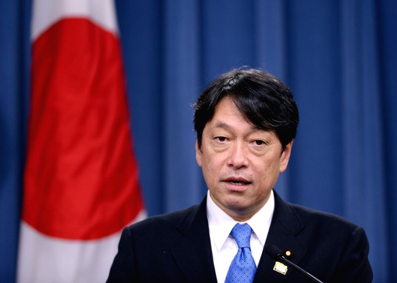Japanese Defense Minister Itsunori Onodera speaks at a press briefing after meeting with U.S. Secretary of Defense Chuck Hagel at the Pentagon in Washington ...