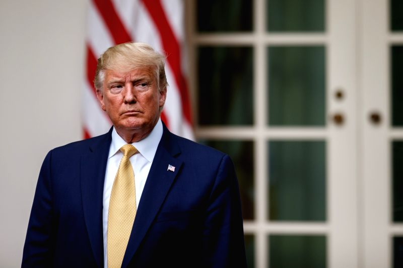 WASHINGTON, July 12, 2019 (Xinhua) -- U.S. President Donald Trump (C) speaks during an event at the White House in Washington D.C., the United States, July 11, 2019. After fighting for weeks with Democrats over whether the 2020 census would include a