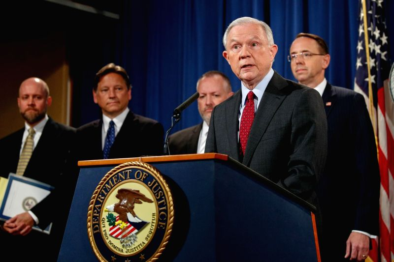 WASHINGTON, July 20, 2017 - U.S. Attorney General Jeff Sessions (Front) speaks at a press conference at the U.S. Justice Department in Washington D.C., the United States, on July 20, 2017. The ...