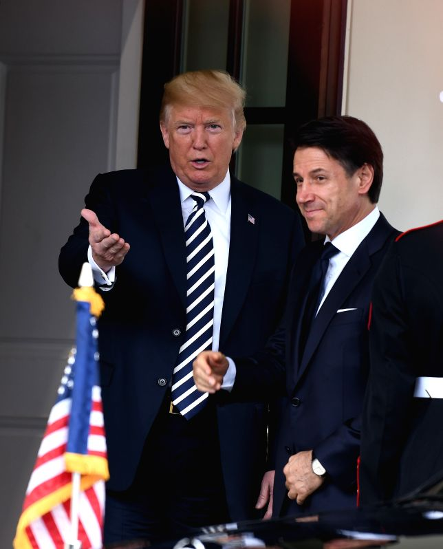 WASHINGTON, July 30, 2018 - U.S. President Donald Trump (L) welcomes visiting Italian Prime Minister Giuseppe Conte at the White House in Washington D.C., the United States, on July 30, 2018. - Giuseppe Conte