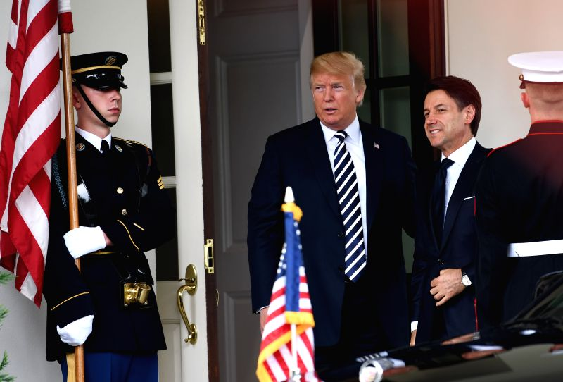 WASHINGTON, July 30, 2018 - U.S. President Donald Trump (2nd L) welcomes visiting Italian Prime Minister Giuseppe Conte (3rd L) at the White House in Washington D.C., the United States, on July 30, ... - Giuseppe Conte