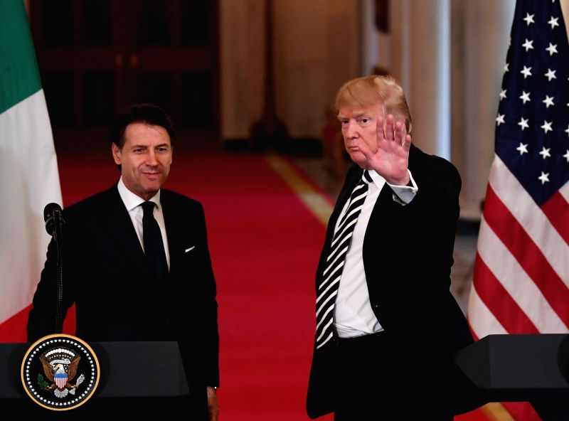 WASHINGTON, July 30, 2018 - U.S. President Donald Trump (R) and Italian Prime Minister Giuseppe Conte attend a joint press conference at the White House in Washington D.C., the United States, on July ... - Giuseppe Conte and Hassan Rouhani