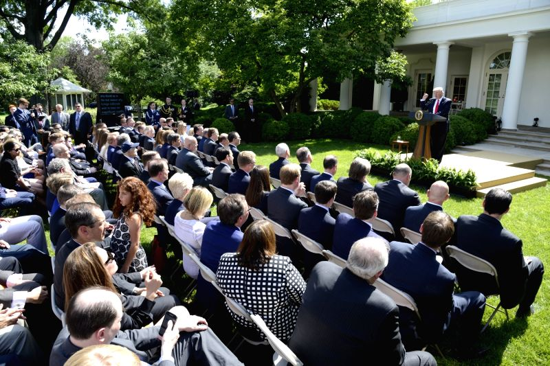 WASHINGTON, June 1, 2017 - U.S. President Donald Trump delivers a speech at the White House in Washington D.C., capital of the United States, on June 1, 2017. U.S. President Donald Trump said on ...