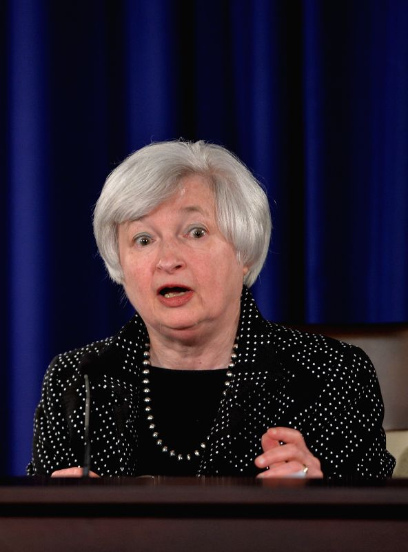 US Federal Reserve Chair Janet Yellen speaks during a press conference at Federal Reserve Board building in Washington D.C., capital of the United States, June ...