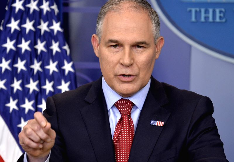 WASHINGTON, June 2, 2017 - U.S. Environmental Protection Agency administrator Scott Pruitt speaks during a press briefing about President Donald Trump's decision to withdraw from the Paris Agreement ...
