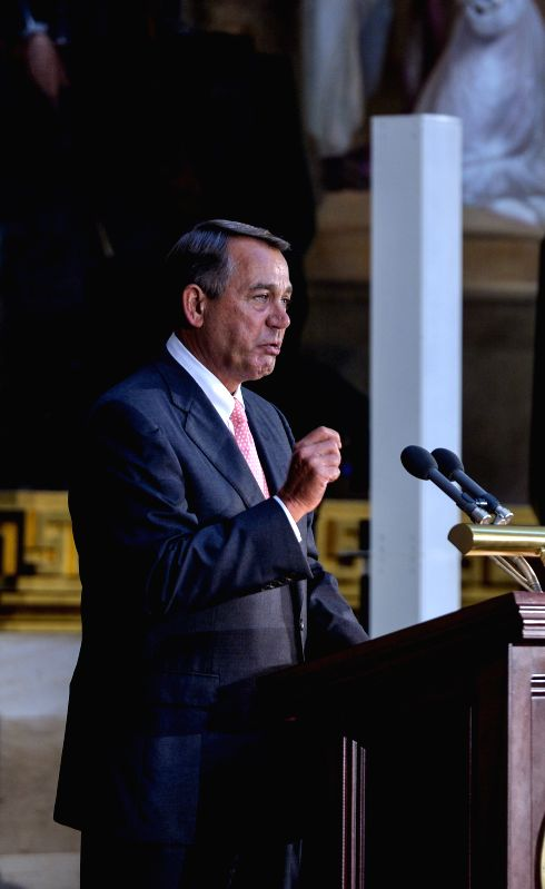 John A. Boehner, speaker of the US House of Representatives, addresses the ceremony marking the 50th anniversary of the Civil Rights Act of 1964 at the Capitol ..